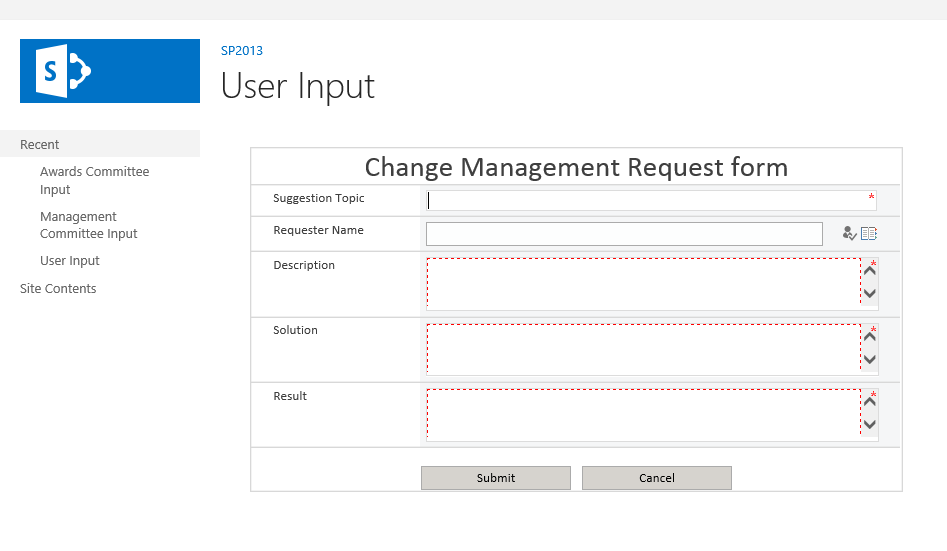 SharePoint 2013: Build a Change Management Request without code ...
